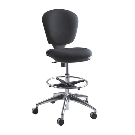 3442BL Metro Contoured Back Swivel Extended-Height Black Drafting Office Chair With Two-Tone Dual Carpet Casters