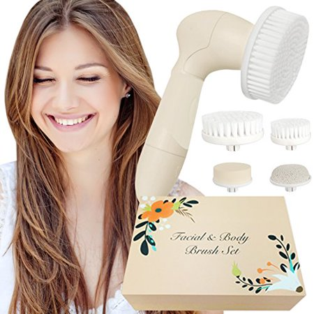 Skin Cleansing System Facial Brush & Body Care Kit - Vintage Almond Facial -