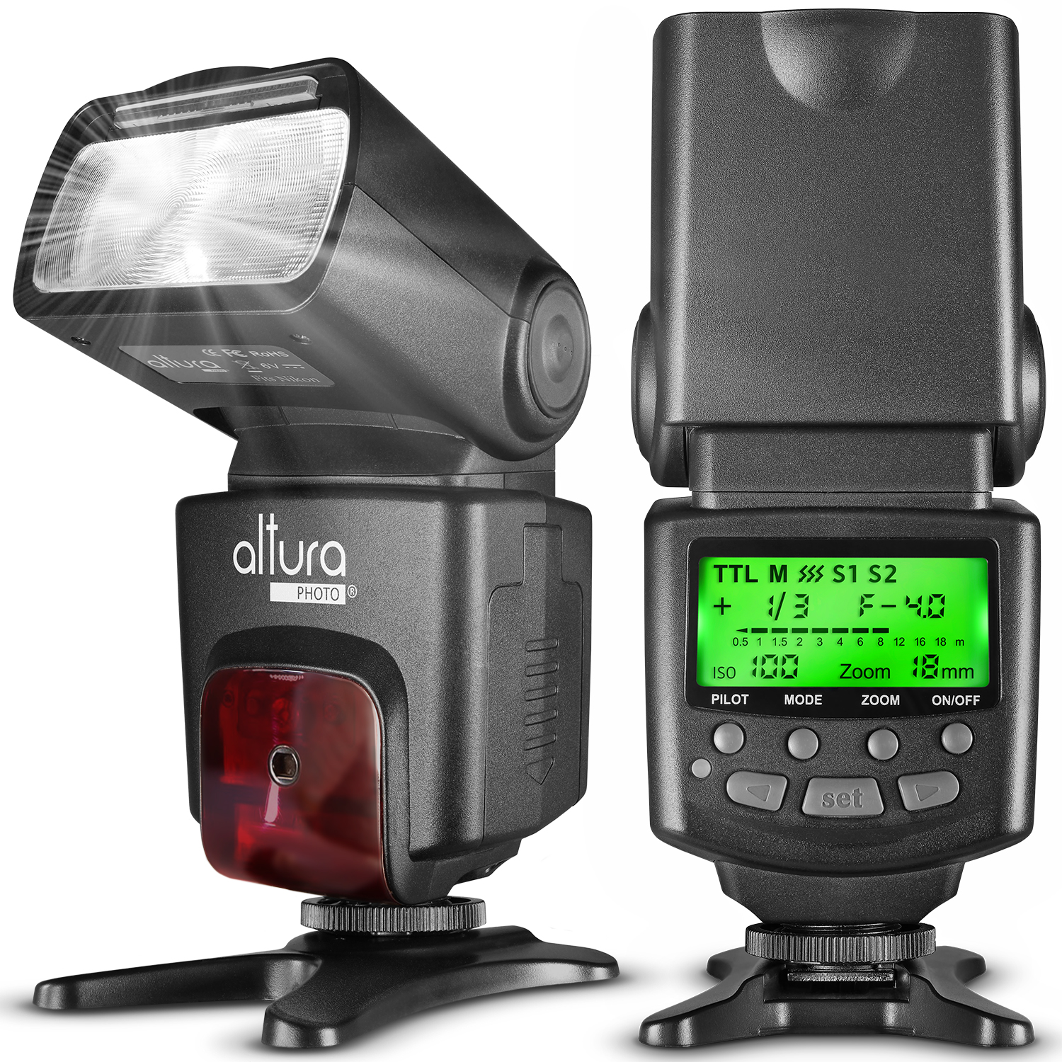 Altura Photo AP-N1001 Speedlite Flash for Nikon DSLR Cameras with Auto-Focus, I-TTL, Wireless Trigger Slave Function