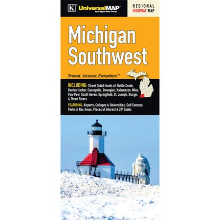 Universal Map Michigan Southwest Regional Fold Map  Set Of 2