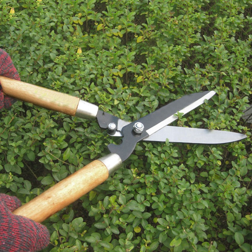 Professional Pruning Scissors Hedge Shears Clippers with Long Wooden Handle for Garden Shears Shimming Shaping