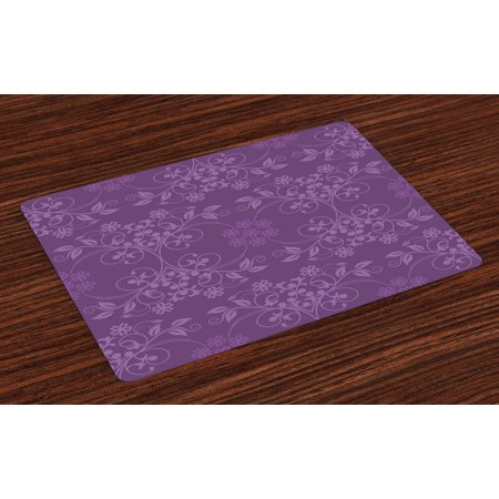 Eggplant Placemats Set of 4 Gorgeous Well-Formed Flowers on Purple Background Damask Floral Arrangement Ornament, Washable Fabric Place Mats for Dining Room Kitchen Table Decor,Violet, by Ambesonne ()
