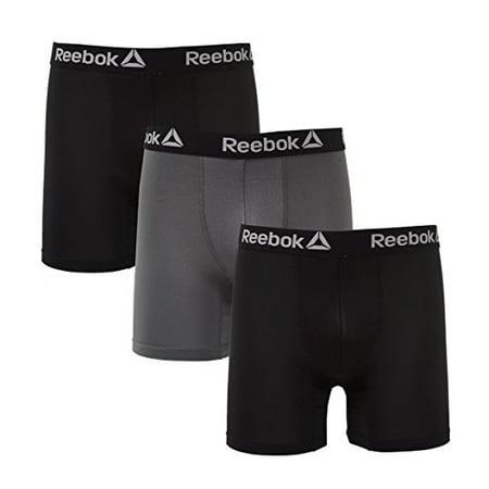 3 Large Packs (REEBOK 3 PACK BOXER - BLACK / GREY - LARGE - UNDERWEAR PERFORMANCE MEN )