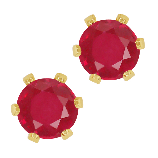 2.10 Ct Round Red Ruby Yellow Gold Plated 6-prong Stud Earrings 6mm