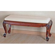 Hand Carved Wood Foot of Bed Bench