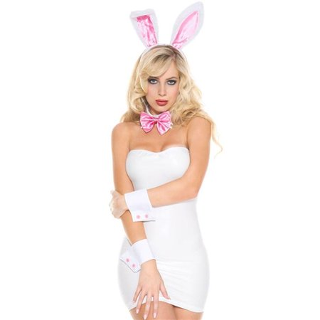4 Piece Bunny Accessory Kit with Bunny Ears, Bow Tie, Cuffs, & Plush Tail Accessories - Bunny Ears And Tail