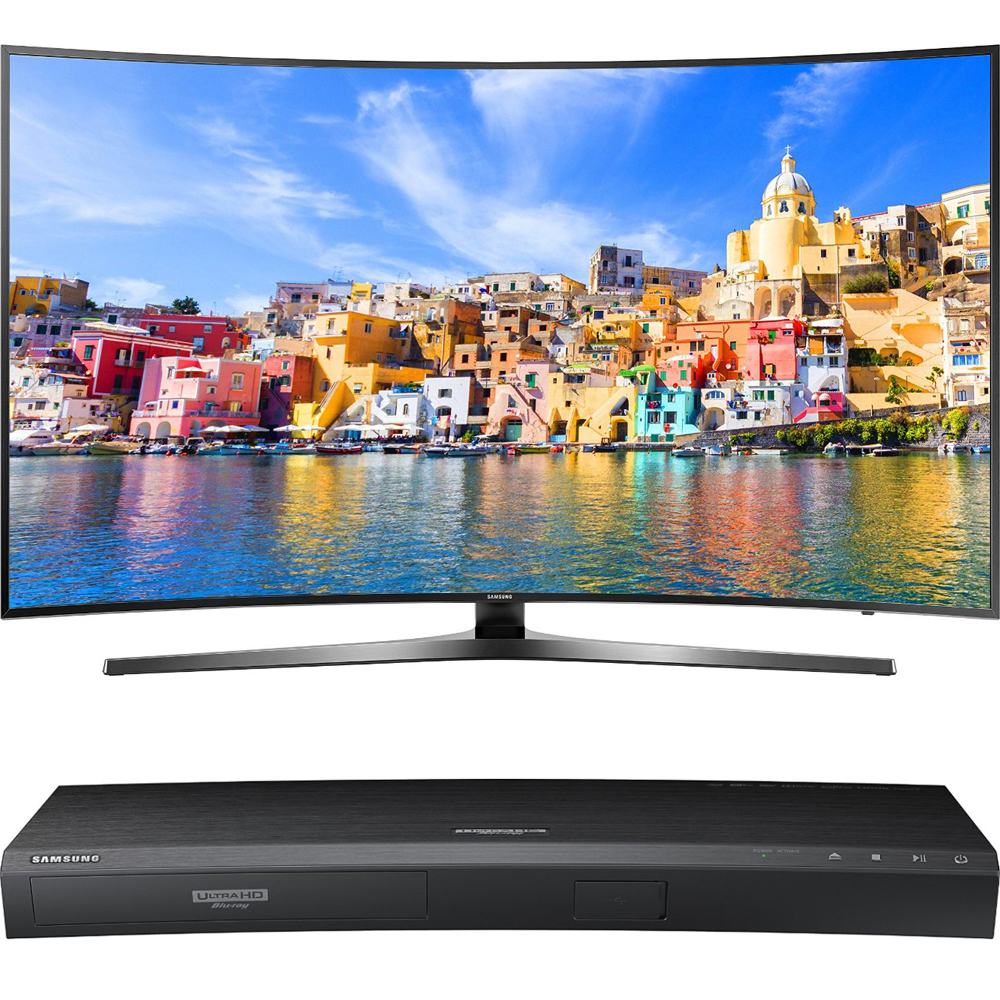 "Samsung 65"" Class KU7500 7-Series Curved 4K Ultra HD Smart LED TV (UN65KU7500FXZA) with Samsung 3D Wi-Fi 4K Ultra HD Blu-ray Disc Player"