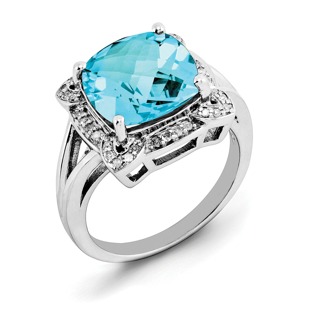 925 Sterling Silver Swiss Diamond and Blue Topaz Ring Size-7 by