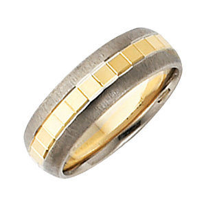 14K White & Yellow 6mm Design Band Size 9