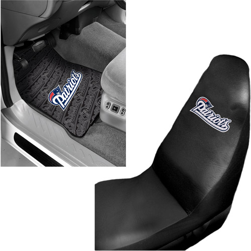 NFL New England Patriots 2 pc Front Floor Mats and Car Seat Cover Value Bundle