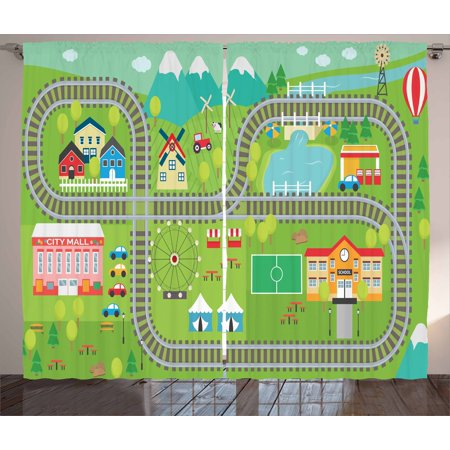 Kid's Activity Curtains 2 Panels Set, Train Tracks with Colorful Town School City Mall and Amusement Park Fair, Window Drapes for Living Room Bedroom, 108W X 84L Inches, Multicolor, by (U Town Mall)