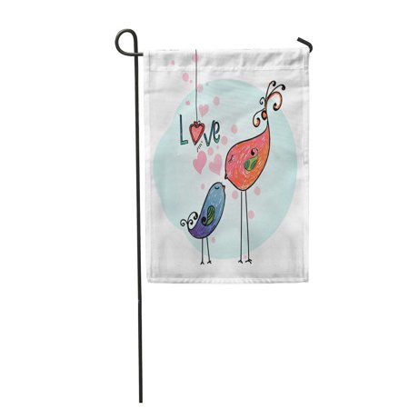 NUDECOR Watercolor Beautiful Lover Birds Cute Cartoon Happy Couple Valentine Garden Flag Decorative Flag House Banner 28x40 inch - image 1 of 1