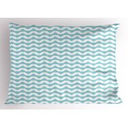 Retro Pillow Sham Artistic Design Chevron Wavy Pattern Zigzags Abstract Snowy Mountaintop Concept, Decorative Standard King Size Printed Pillowcase, 36 X 20 Inches, Pale Blue White, by Ambesonne