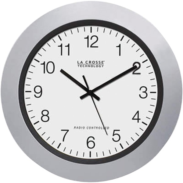 "La Crosse Technology 10"" Atomic Analog Wall Clock, Silver"