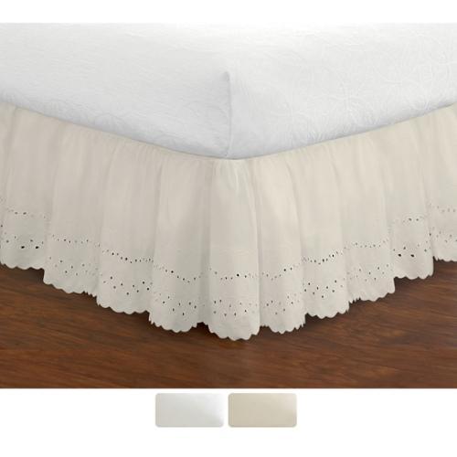 Ruffled Lauren Eyelet 18-inch Bedskirt Twin White