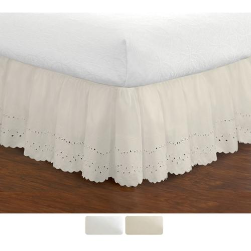 Ruffled Lauren Eyelet 18-inch Bedskirt Twin White