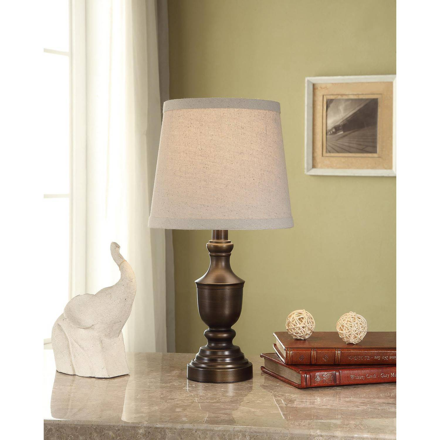 Mainstays Bronze Urn Accent Lamp Base with CFL Bulb
