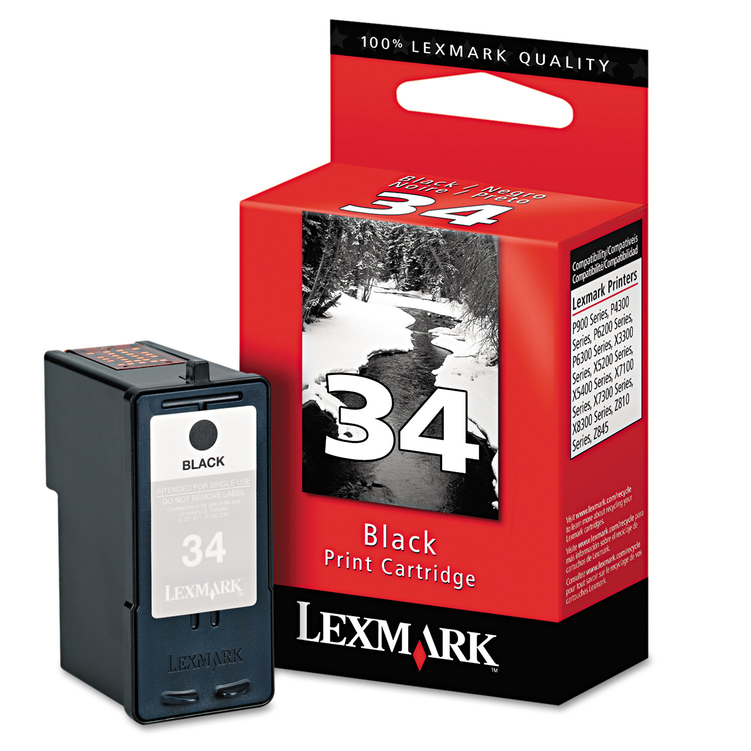 Lexmark 18C0034 (34) High-Yield Ink, 475 Page-Yield, Black