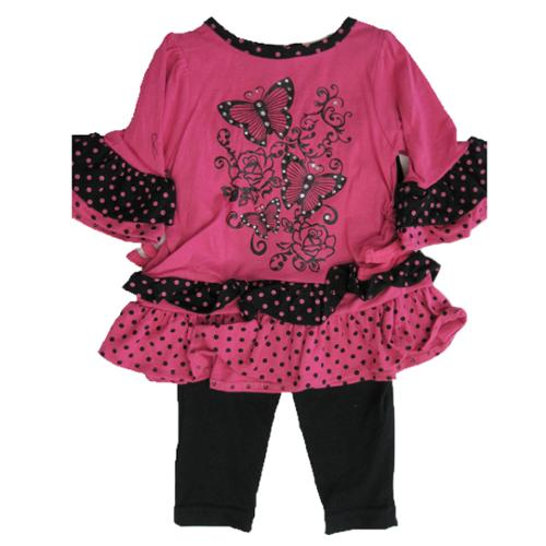 Carter's Baby Girls Fuchsia Butterfly Applique Dotted 2 Pc Leggings Set 18M