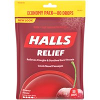 Halls Triple Action Cherry Drops, 80 ct