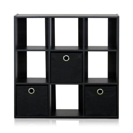 Furinno Simplistic 9 Cube Organizer With Bins Espresso Black 26 5 X 7 In