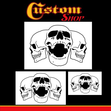 Custom Shop Airbrush Triple Skull Pile Stencil Set (Skull Design in 3 Scale Sizes) - Laser Cut Reusable (5 Custom Photo Templates)