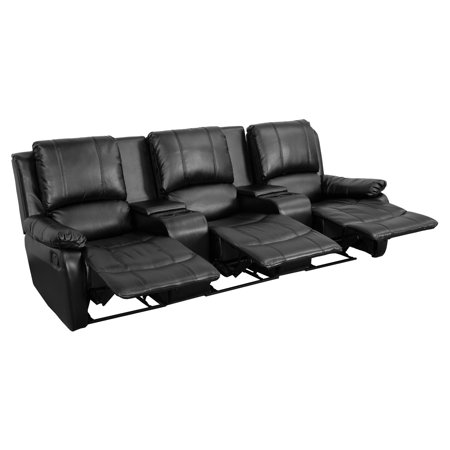 Flash Furniture Allure Series 3 Seat Reclining Pillow Back Leather Theater Seating Unit With Cup Holders