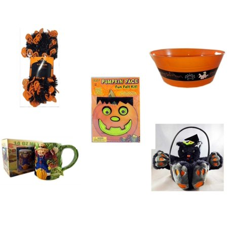 "Halloween Fun Gift Bundle [5 Piece] -  Black & Orange Pumpkin Garland 10 ft. - 17.75 Inch Orange ""Happy "" Party  Tub - Darice Pumpkin Face Fun Felt Kit - Frankenstein - Earthenware Scarecrow & Harve"