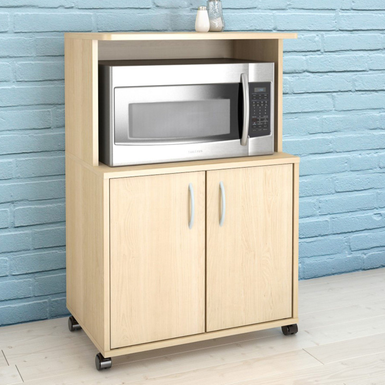 Microwave Kitchen Cart with Storage, Pine