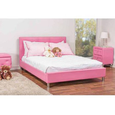 Barbara Modern Leather Full Size Bed with Crystal Button Tufting, Pink ()