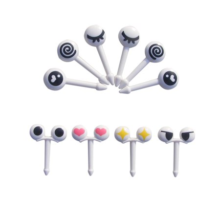 10pcs/set Mini Eye Cartoon Expression Fruit Fork Plastic Fruit Toothpick For Children - Halloween Toothpicks