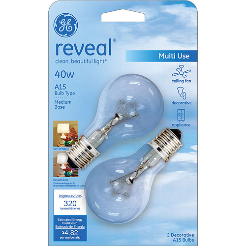 GE Reveal 40 watt Clear A15 Incandescent Ceiling Fan Bulb, 2 Pack