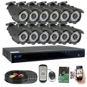 GW 16 Channel 5MP 1920P Home Video Outdoor Security Camera System w/ 12 5MP CCTV Cameras, 16CH 4TB DVR Surveillance Kit, 100ft Night Vision