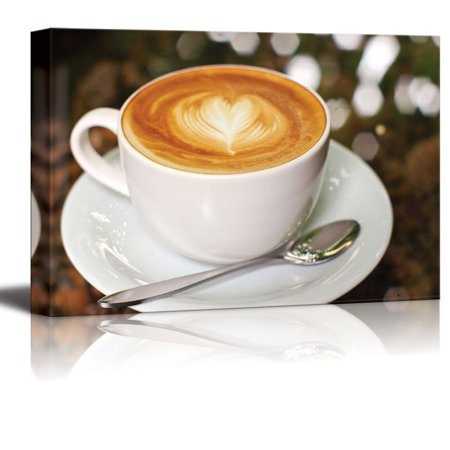 Canvas Prints Wall Art - Cappuccino/Latte Coffee with Heart Shape | Modern Wall Decor/Home Decoration Stretched Gallery Canvas Wrap Giclee Print & Ready to Hang - 12