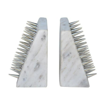 R16 Home Furniture AO-10 England Spike Bookends, White & Silver - image 1 of 1