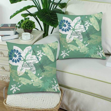 GCKG Seamless Pattern Stylish Dragonfly Flower Pillowcase Throw Pillow Covers 18x18 inches Set of 2 - image 1 de 3