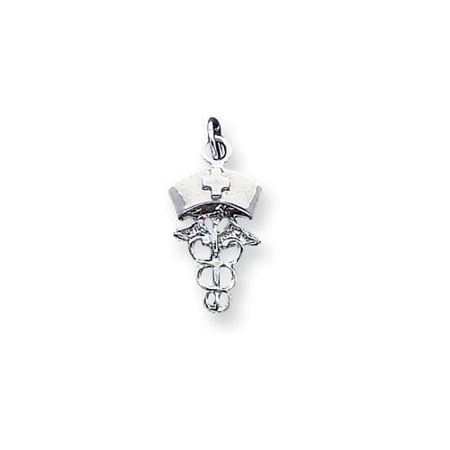 Jewelryweb Sterling Silver Nurse Symbol Charm