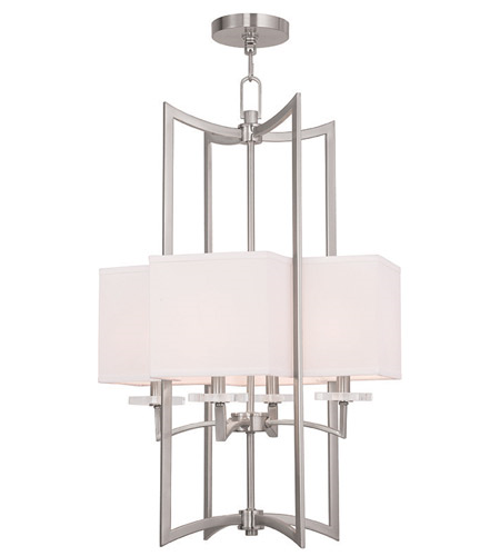 Pendants Porch 4 Light With Hand Crafted Off-White Fabric Hardback Shade Brushed Nickel size 18 in 240 Watts - World of Crystal