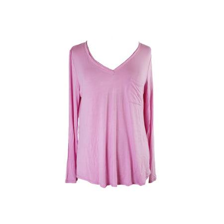 Alfani Pink Long-Sleeve V-Neck Knit Pajama Top S