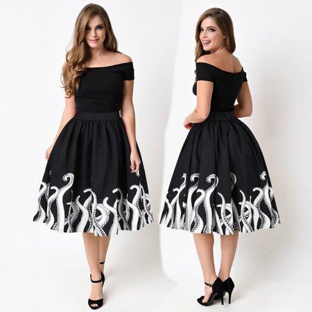 - Women's Octopus Squid Fancy Print Pattern Mini Knee Length Skater Skirt M