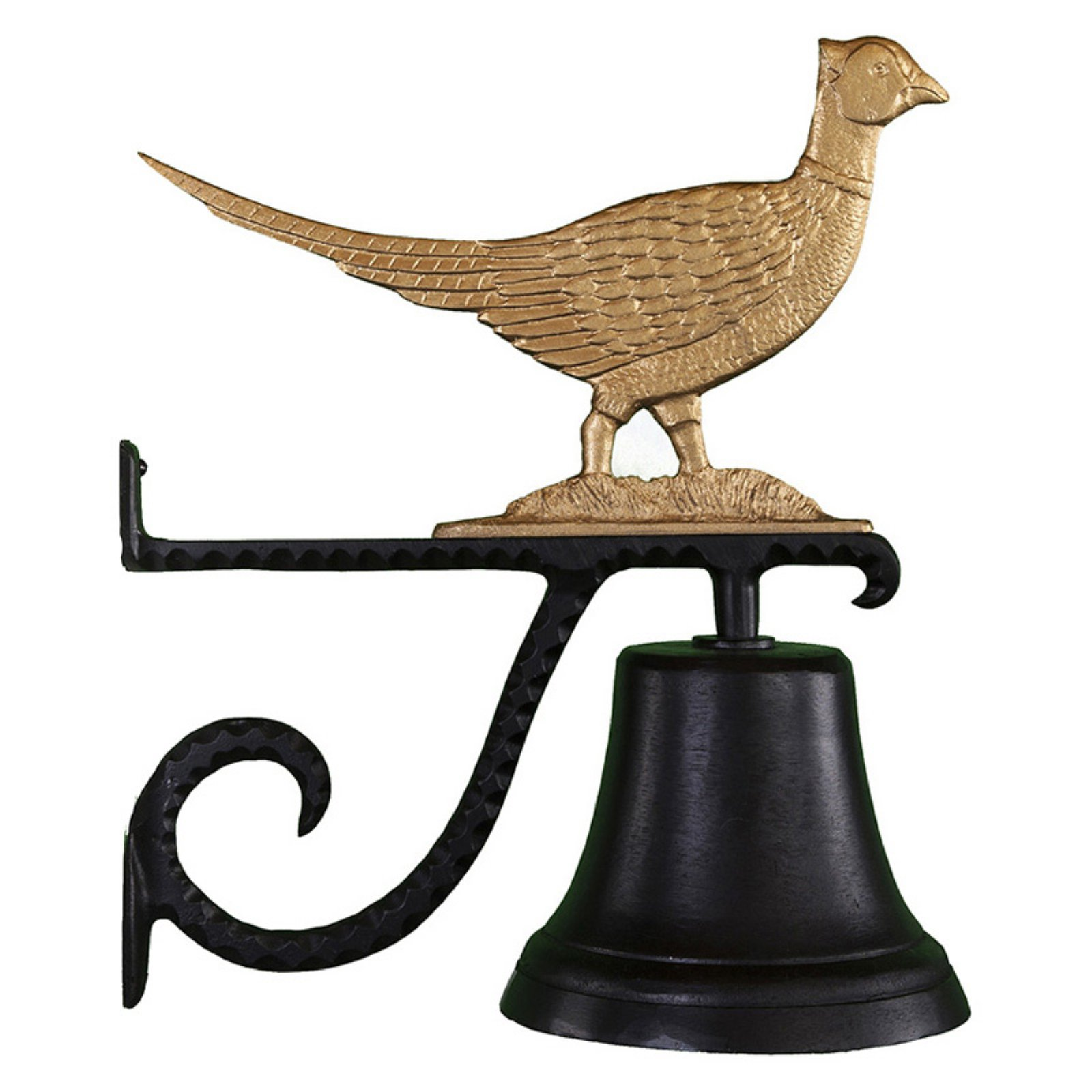 Cast Bell with Gold Pheasant Ornament