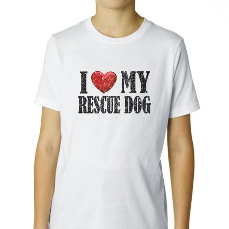 I Love My Rescue Dog Red Heart Pet Lover Boy's Cotton Youth T-Shirt
