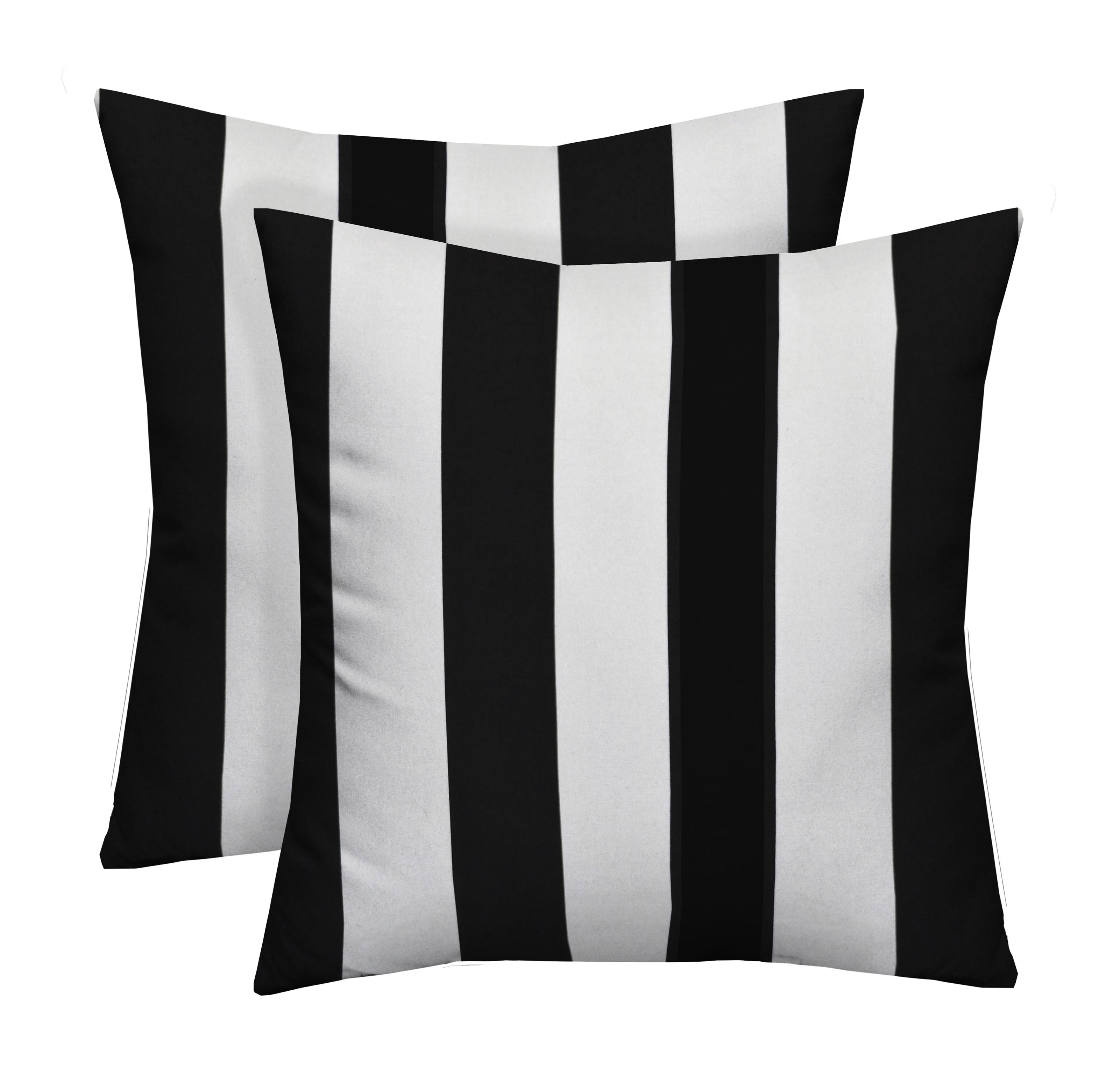 Rsh Décor Indoor Outdoor Set Of 2 Square Throw Pillows Weather Resistant 17 X 17 Black White Stripe Walmart Com Walmart Com
