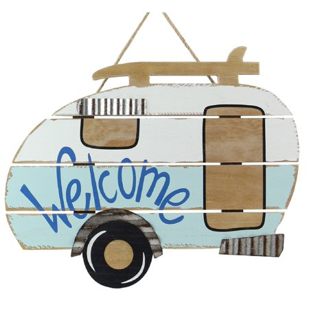 Camper Welcome Painted Wood Wall or Tabletop Sign 15.75 Inches