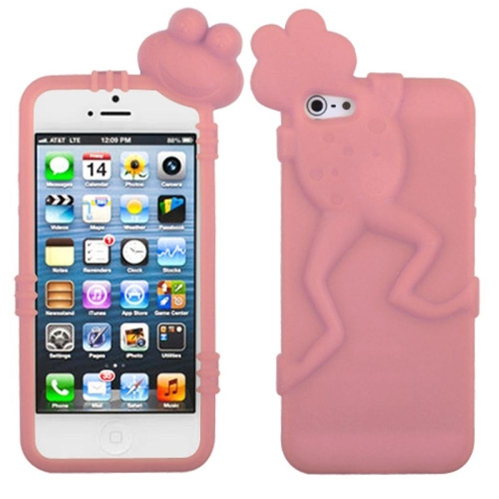 Insten Frog Rubber 3D Cover Case For Apple iPhone 5/5S/SE - White