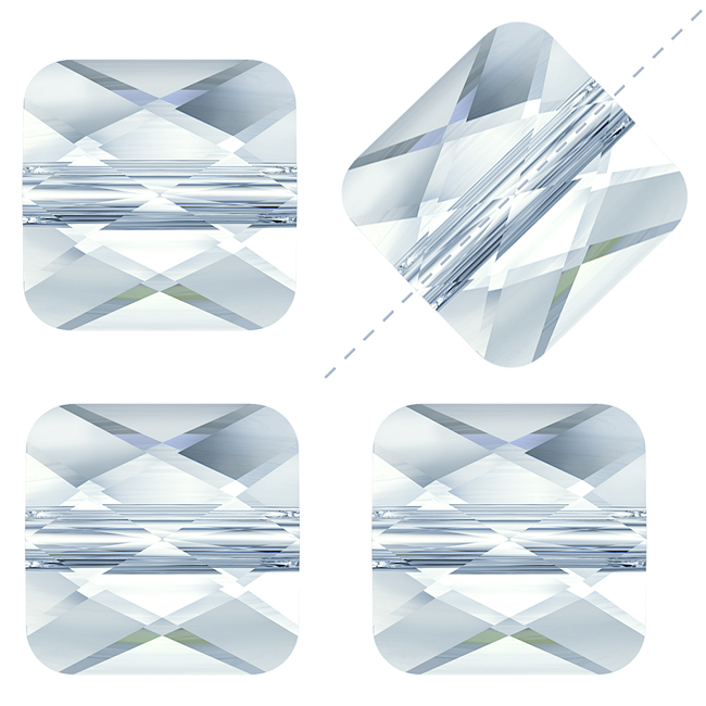 Swarovski Crystal, #5053 Square Mini Beads 6mm, 4 Pieces, Crystal Blue Shade