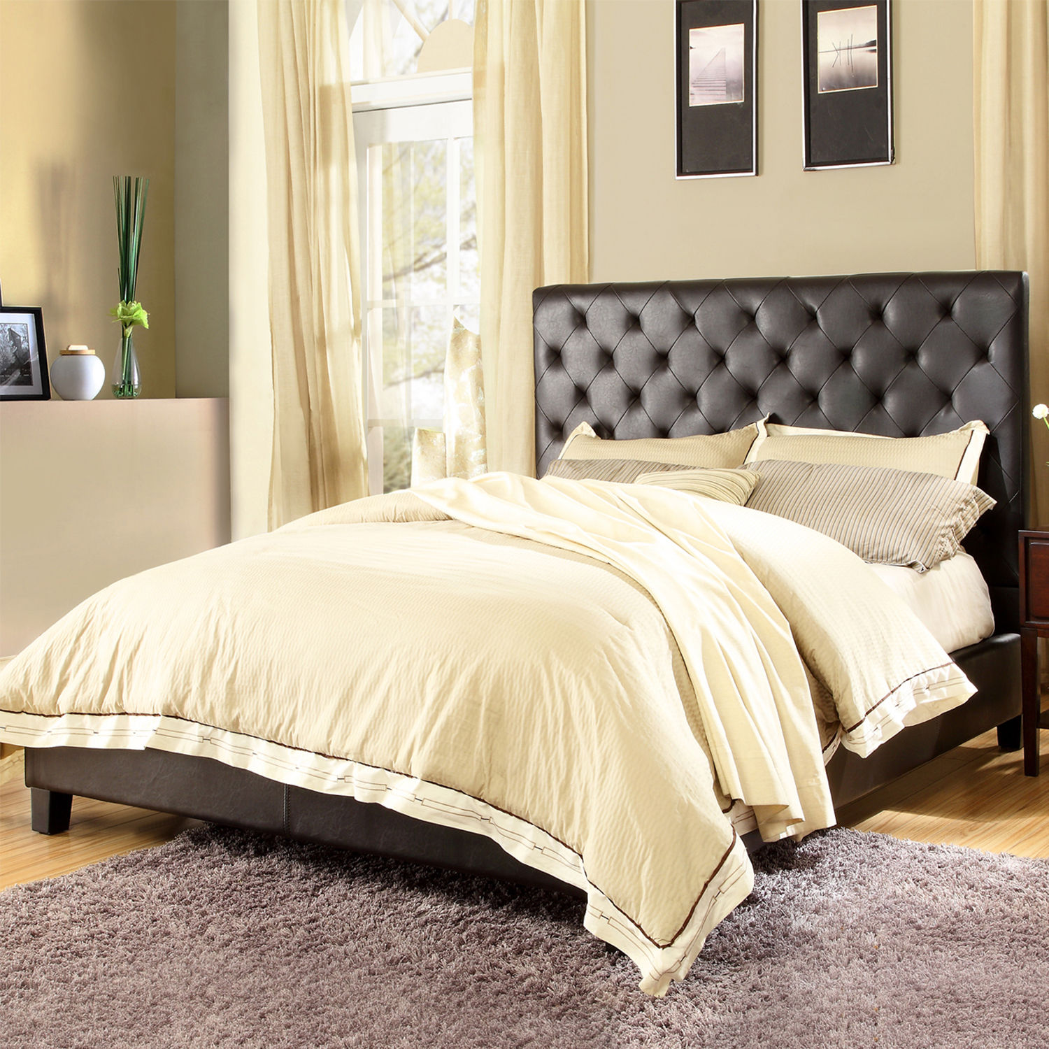 Tribecca Home  Sophie Dark Brown Bonded Leatr Tufted Full-sized Upholstered Bed