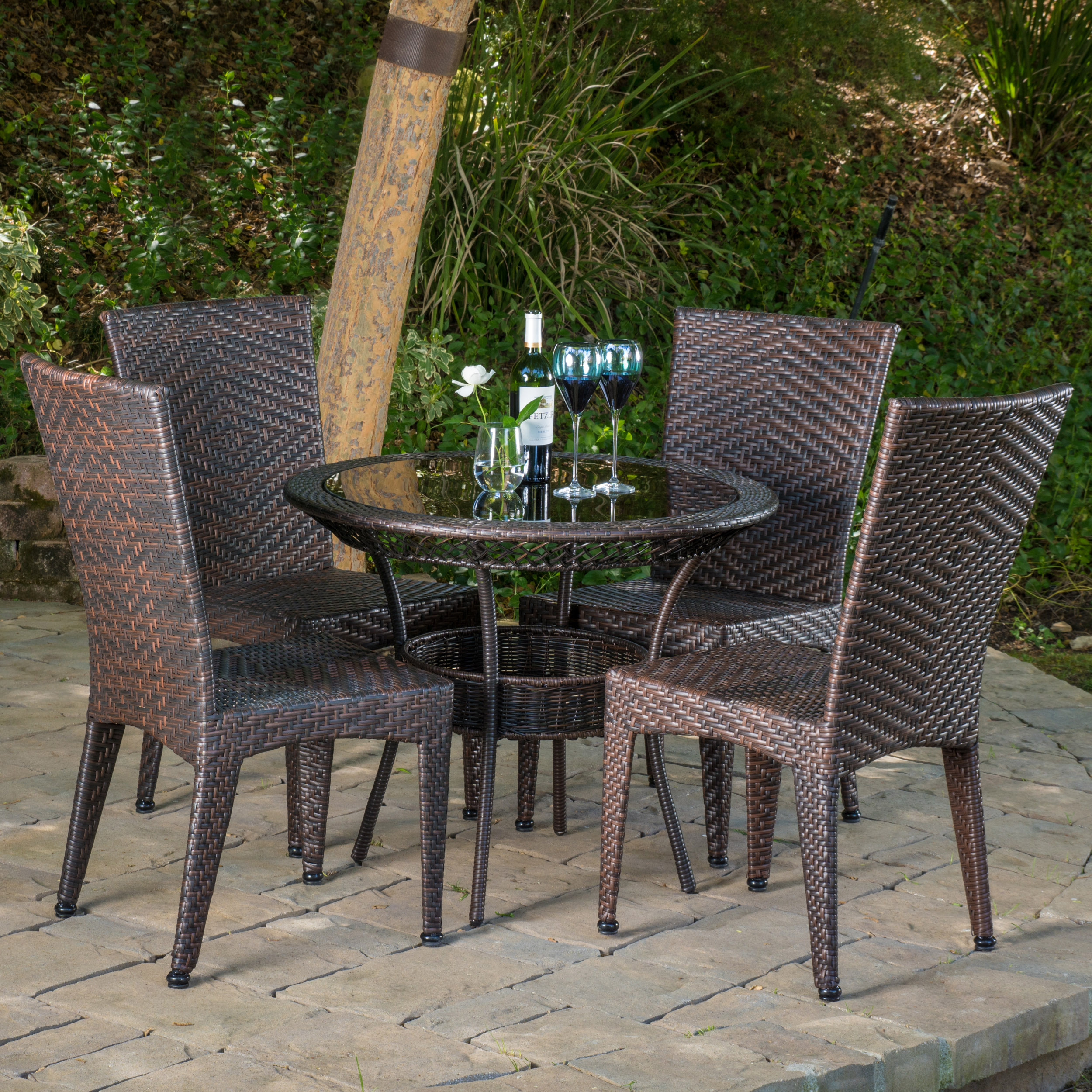 Sandoval 5 Piece Outdoor Dining Set, Multibrown