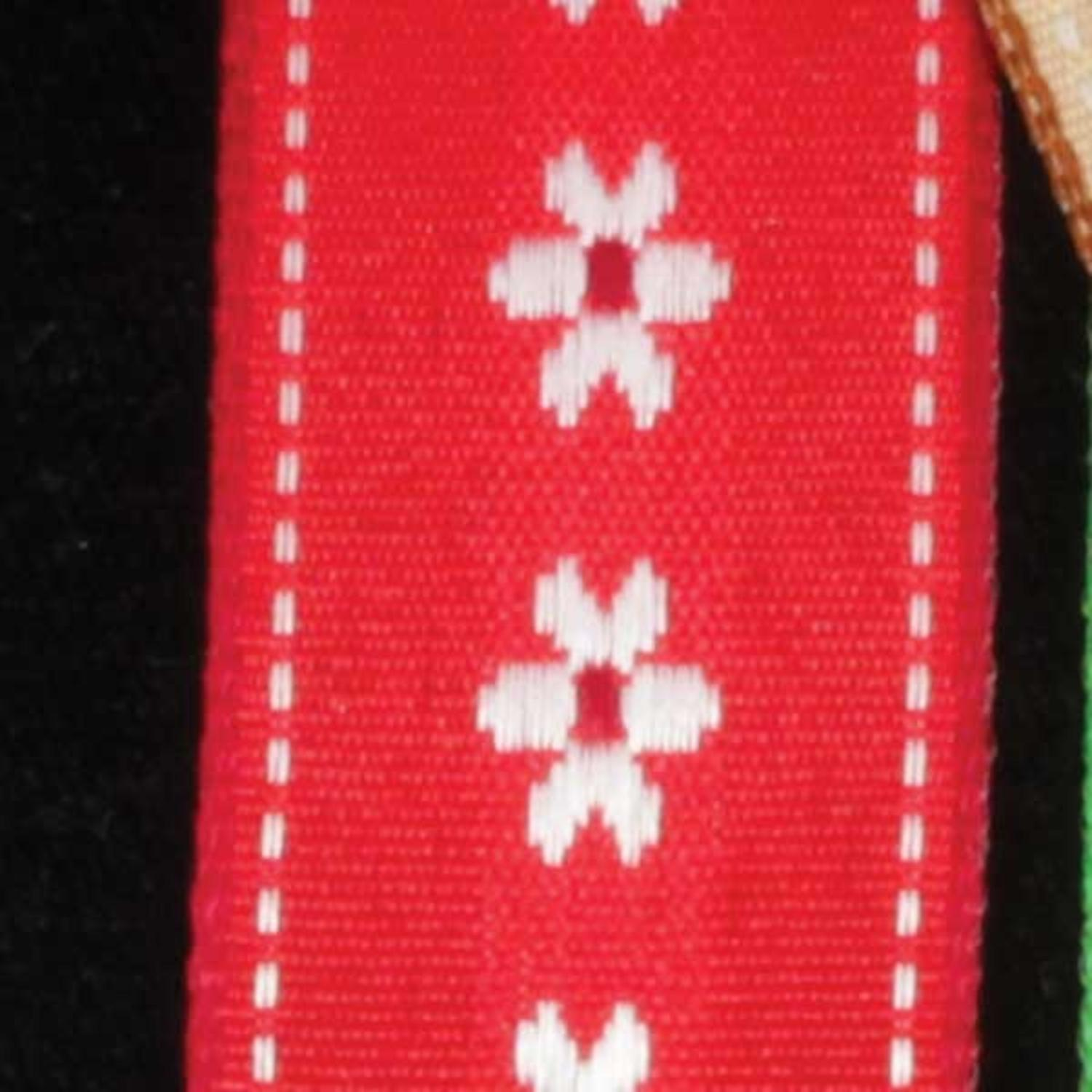 """Dainty Blossoms Red and White Floral Wired Craft Ribbon 7/8"""" x 54 Yards"""