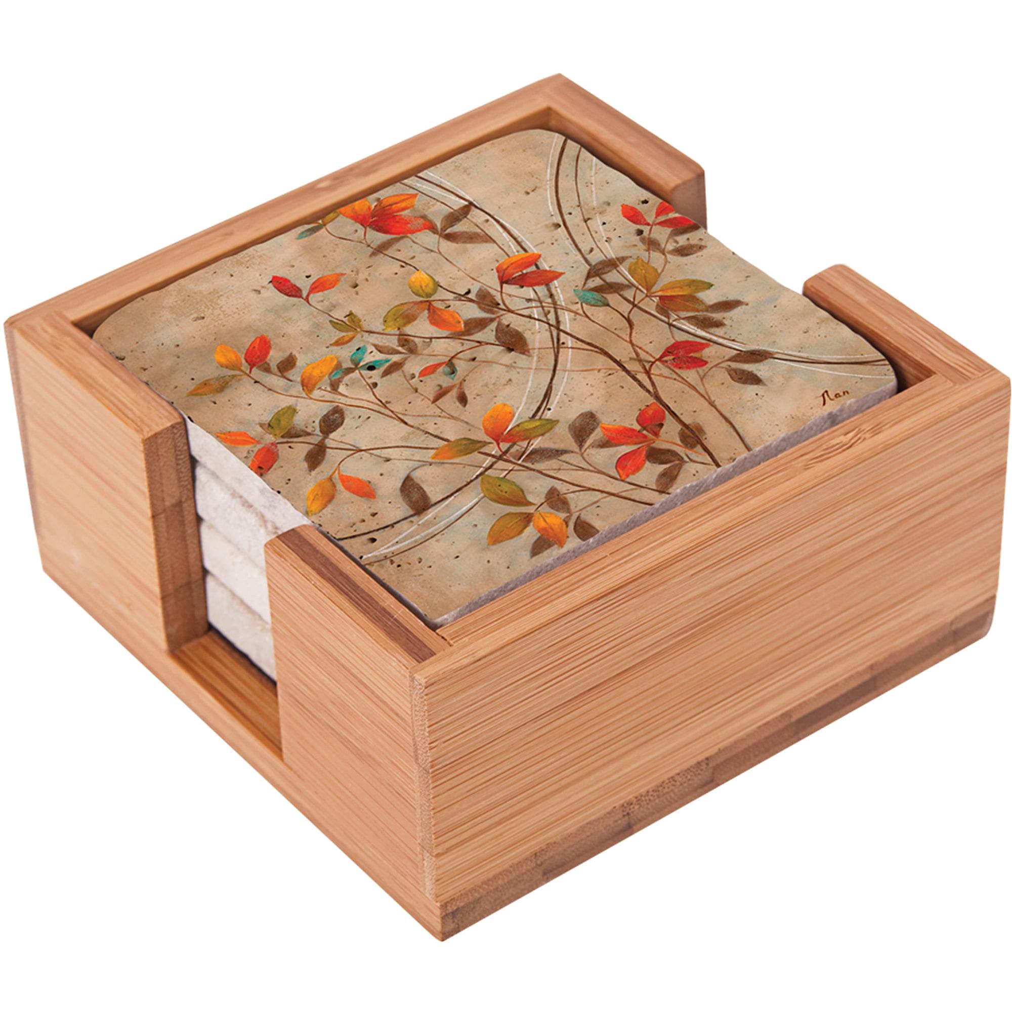 Thirstystone Impressions Square Bamboo Holder for Travertine & Thirstystone Impressions Drink Coasters